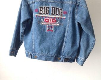 vintage y2k BIG DOGS blue denim FADED jean jacket cropped coat