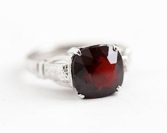 Sale - Vintage Garnet Ring - 18k White Gold Dark Red Cushion Cut Gem - Art Deco 1930s Size 4 1/4 January Birthstone Flower Fine Jewelry