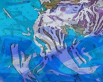 Brickworks Water Music original digital art limited edition print in water colors earth tones fantasy underwater flowing shapes