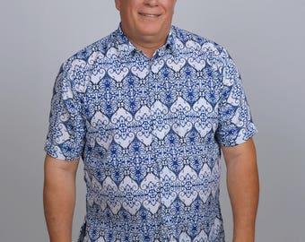 ARRIBATIK Casual Artisan Shirt - Blue Shield