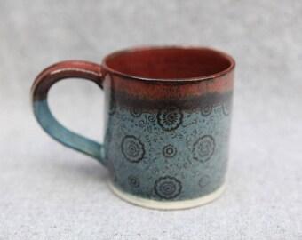 Stoneware Mug Blue and Orange Speckle Glaze