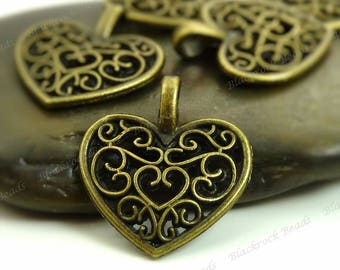 Bulk 24 Heart Shaped Charms 18x15mm Antique Bronze Tone Metal - Filigree Heart Pendants - BP36