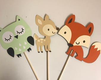 Set of 3 Woodland Animal Centerpiece Animals