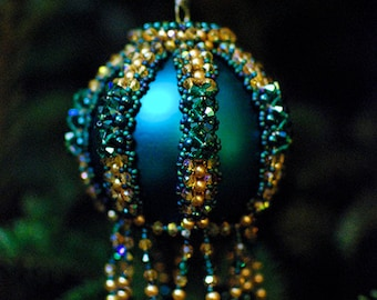 Teal/Blue Ball Beaded Ornaments