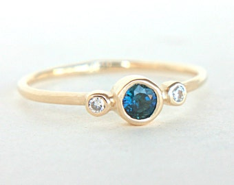 Blue Sapphire and Diamond Ring 14k Gold Natural Sapphire Diamond Gold Ring Blue Sapphire Engagement Ring Alternative Engagement Ring