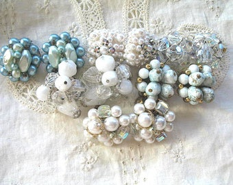 Nice Lot of Destash Jewelry ~ Vintage Earrings ~ Clip On ~ Shades of White