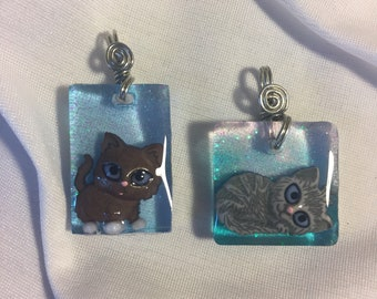Kittens Cats in a Resin Pendant