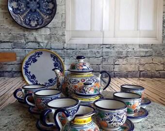 Authentic Talavera 6 people tea/coffee set Majolic ceramic teapot set. & Authentic talavera | Etsy
