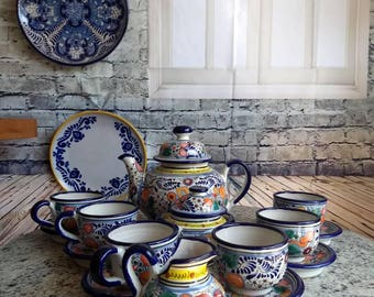 Authentic Talavera 6 people tea/coffee set Majolic ceramic teapot set. CM012 & Talavera | Etsy