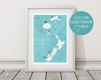 Our Honeymoon Map / Personalised Map / Anniversary Gift / Honeymoon Gift / Newlyweds / Personalised Map / Any Location / Illustrated Map