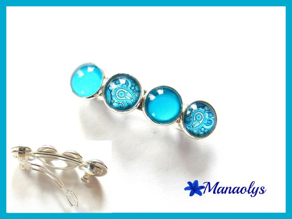 Barrette hair, cabochons in glass, blue patterns