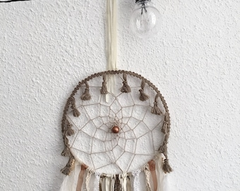 Dream catcher taupe and ecru with tassels