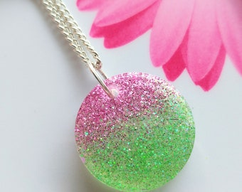 Green and Pink Glitter Resin Necklace/resin jewelry/glitter pendant