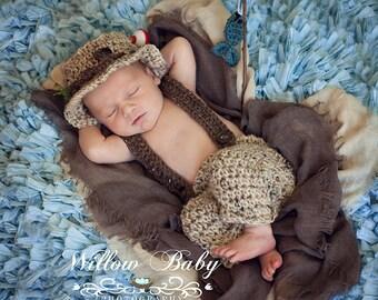 Crochet Fisherman Pants Set-Tan and Chocolate Tweed-Newborn