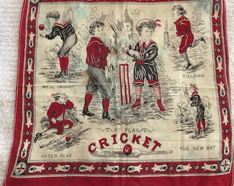 Child's instructional handkerchief, antique,cricket, S.H. Greene and Sons