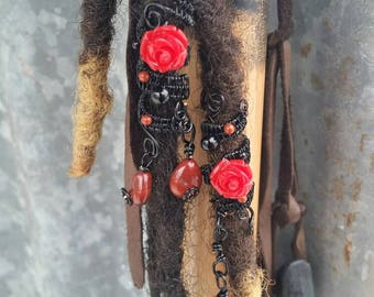 Red roses and blood drops. Red jasper and onyx. Set of 2.