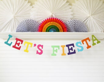 Let's Fiesta Decoration Banner - 5 inch Letters - Fiesta Birthday Party Cinco De Mayo Banner Bright Fiesta Theme Taco Party Decorations