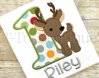 SALE - Woodland Deer Birthday Number Embroidered Shirt or Bodysuit - FREE PERSONALIZATION