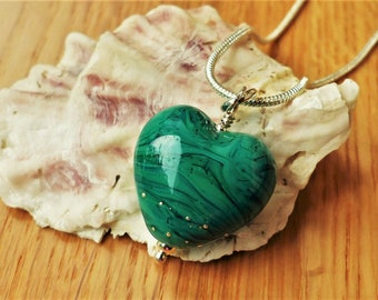 """Green heart  necklace with lampwork pendant. Gift for girlfriend, wife. Handmade green focal bead with fine silver detail. 18"""" silver chain."""