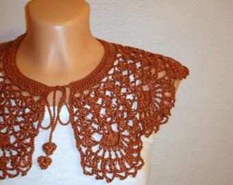 Dentelle marron crochet petite robe Collier Collier fait à la main de Peter Pan amovible Crochet Bohème des accessoires de collier mode Festival d'été