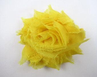 Yellow Shabby Flower Hair Bow - Yellow Hair Clip - Flower Hair Bow - Shabby Chiffon Hair Clip - Infant Toddler Child Teenager Hair Clip