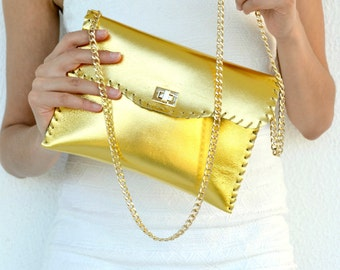 Gold leather purse