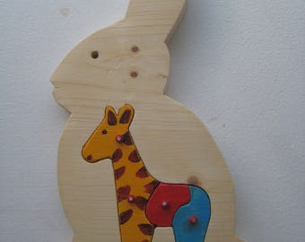 handmade puzzle of solid wood - rabbit/giraf