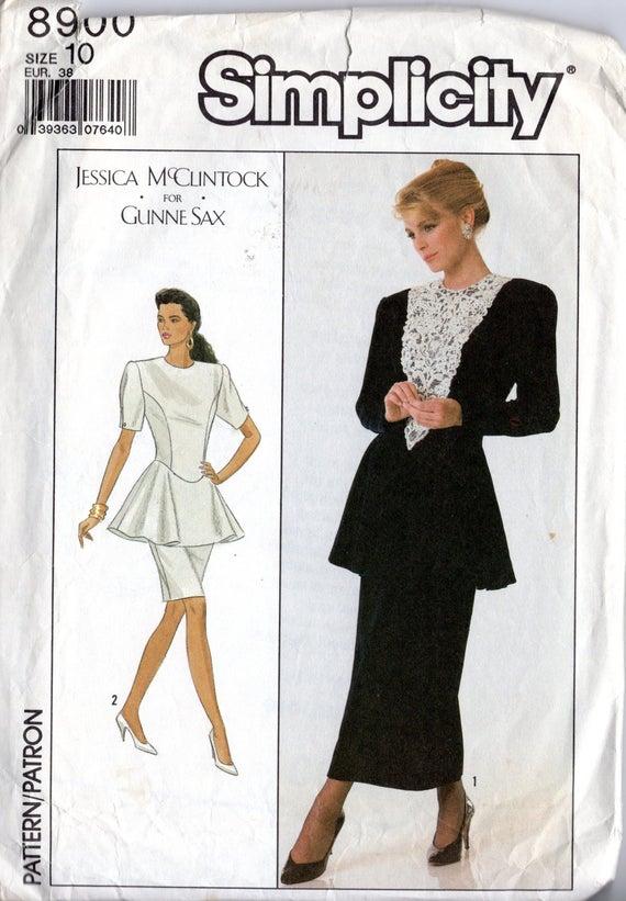 Vintage 80\'s Gunne Sax Peplum Prom Dress Pattern: Simplicity 8900 ...