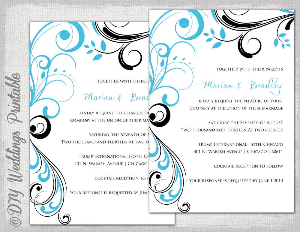 Wedding invitation templates Turquoise and black