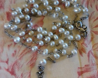 French vintage fresh water pearl beaded rosary