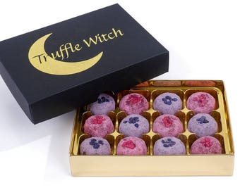 Box of 12 Artisan Rose and Violet Chocolate Truffles