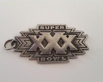 Vintage Super Bowl XXX keyring fob, Sun Devil Stadium January 28, 1996 Dallas Cowboys vs Pittsburgh Steelers
