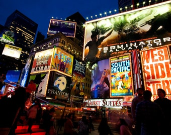 Times Square at Night - Broadway Theater - New York Home Decor - Colorful Office Decor -  Fine Art Photograph