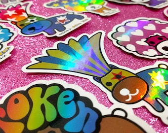 Set of 15 RARE Afro Ken HoLoGrApHic Stickers by San-X