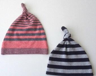 Stripe knit baby hats