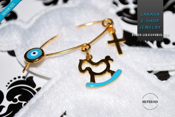 Blue Enamel Baby Brooch Pony Carousel Sterling Silver Gold plated Handmade Jewelry Cross Eye Happy Shower Day Religious Baptism Newborn Boy