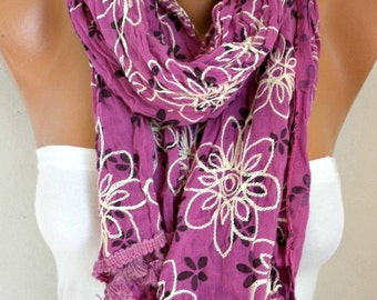 Floral Embroidered Scarf,Mother Gift,Teacher  Gift Shawl Cotton Cowl  Scarf Gift Ideas For Her Women's Fashion Accessories