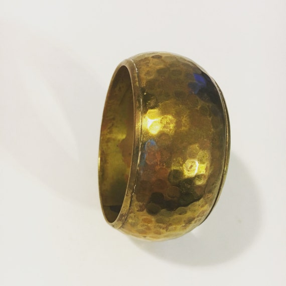Vintage Brass Extra Wide Cuff Bracelet with Abstract Pattern Circa 1970s FREE SHIPPING!
