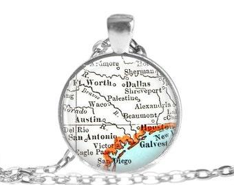 Texas map charm, Texas Jewelry map necklace pendant, Austin, Houston, San Antonio, Dallas, Fort Worth Map Gift, Texas Gift Ideas, A292