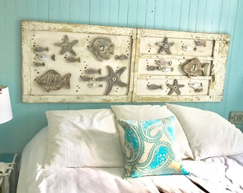 Wood School of Fish Starfish Wall Art or Headboard Sign Driftwood Colours Beach Lake House by CastawaysHall - Ready to Ship