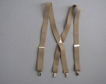 Vintage Beige / Tan  Suspenders - Clip On