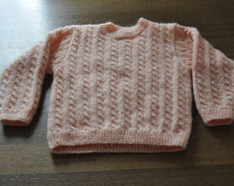 salmon cabled sweater