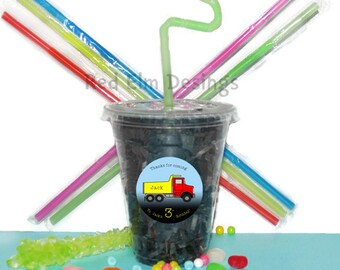 Dump Truck Party Cups, Truck Cups, Kids Birthday Party Cups, 20 Cups, Dump Truck Kids Party Cups, Straws and Lids, 12 Ounce Cups