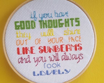 Completed Cross Stitch Roald Dahl Quote Good Thoughts Rainbow