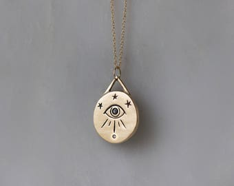 Third eye necklace in 14k gold with black diamond eye / All Seeing Eye Necklace / black diamond necklace / star pendant gold eye charm gift