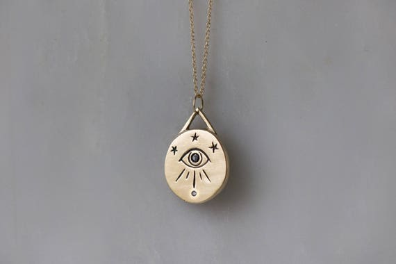 Third eye necklace in 14k gold with black diamond eye all mozeypictures Image collections