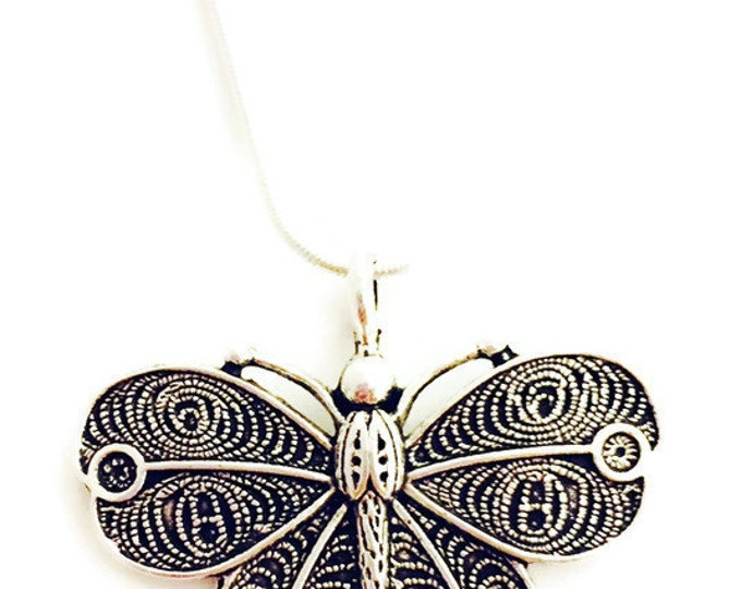Butterfly Necklace, Pendant Necklace, Statement Necklace, Silvertone Butterfly Necklace, Chain is Silver Plate, Choose Your Chain Length