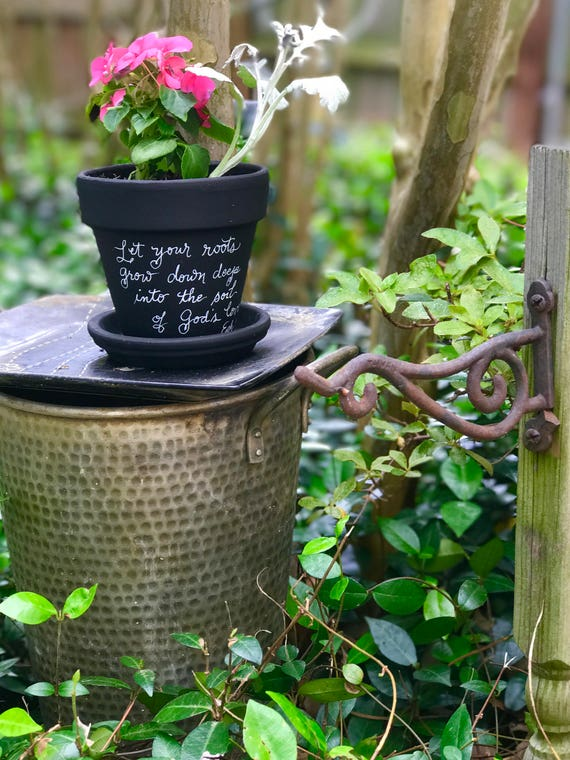 """Chalkboard Painted Handwritten Ceramic Flower Pot/Saucer - """"Let Your Roots Grow Down Deep Into the Soil of God's Love - Ephesians 3:17"""""""