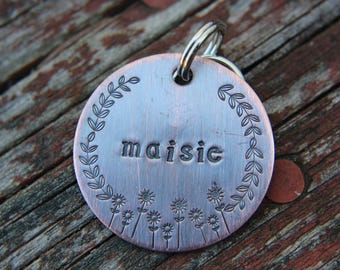 Custom ID Dog Tag, The Maisie, Hand Stamped Dog Tag, Tag for Dog, Puppy Tag, Tag with Flowers, Copper Dog Tag, Pet ID, Identification Tag