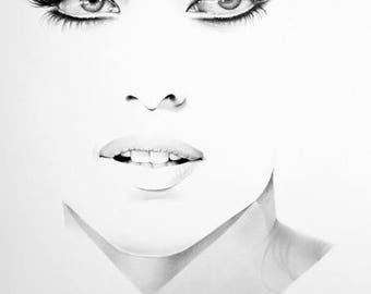 Lady Gaga Minimalism Pencil Drawing Fine Art Portrait Print Hand Signed